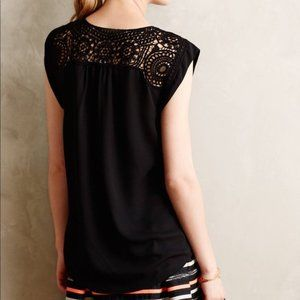 Anthropologie Tops - Anthropologie MEADOW RUE Lacescroll Black Top M